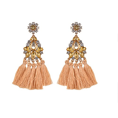 Swarovski Crystal Tassel (Tassel Long Drop Dangle Champagne Earrings Bohemian Earrings Fashion Earrings Bohemian Jewelry for Women)
