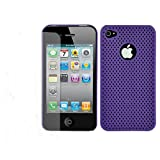 MEElectronics RubC-iPh4-PMesh-PP Perforated Mesh Rubberized Hard Case and Screen Protector for the Apple iPhone 4, Fits AT&T iPhone (Purple)