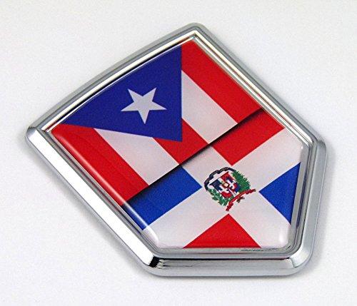 Puerto Rico / Dominican Republic Flag Car Chrome Emblem Decal bike bumper 3D Sticker