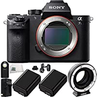Sony Alpha a7S Mark II ILCE7SM2/B Mirrorless Digital Camera (Body Only) + Metabones Canon EF Lens to Sony NEX Camera Lens Mount Adapter Mark IV + 2 NP-FW50 Batteries + MORE - International Version