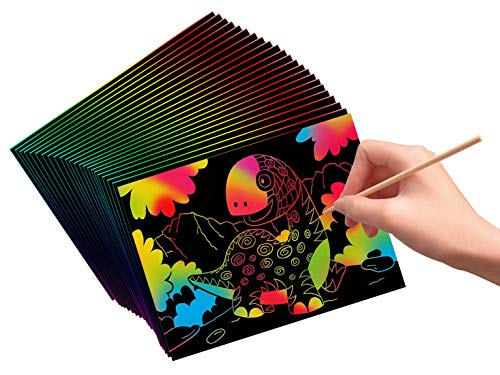 VHALE 30 Sheets Scratch and Sketch Art Paper with 12 Wooden Styluses to Create Fun Art, Drawing, Painting, Writing, Doodling, Creative Arts and Crafts, Great Travel Toys and Party Favors -