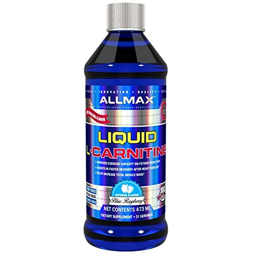 ALLMAX Nutrition L-Carnitine Liquid Vitamin B5 Blue Raspberry Flavor 16 oz 473 ml
