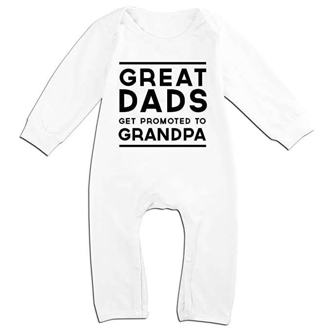 Amazon.com: SSNB Baby Custom Great Dads Get Promoted To Grandpa Onepiece Romper Long Sleeve Jumpsuit 100% Cotton 6-24 Months: Clothing