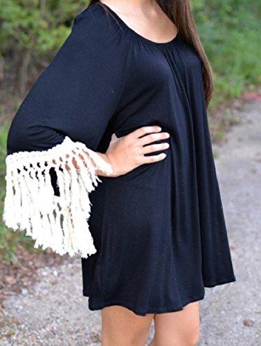 Coolred-femmes Pompon Couleur Pure 3/4 Robes Décontractées Manches Noir