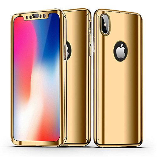 Leagway iPhone X Case Cover, Ultra Slim 360 Degree Full Body Protection 3 IN 1 Anti-Scratch Plating Mirror Case Skin With Tempered Glass Screen + Hard PC Protector for Apple iPhone X / 10 (Gold) (Protector Mirror Case Screen)