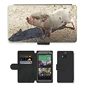 Super Stella Cell Phone Card Slot PU Leather Wallet Case // M00146370 Piglet Pig Animals Farm Pigs Pigsty // HTC One M8