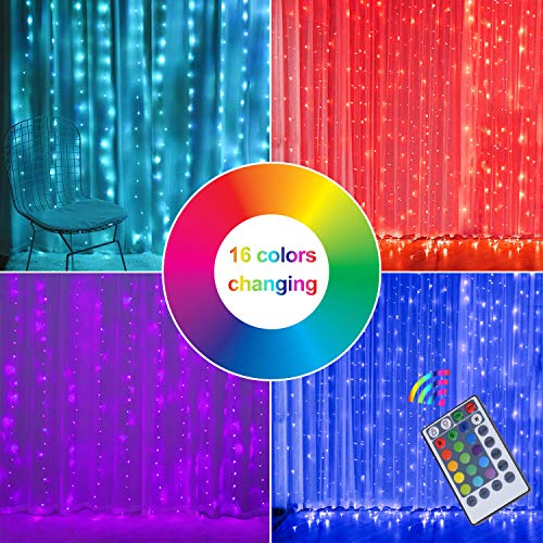 Fairy Curtain Lights, 16-Color Changing String Lights, USB Remote Control, Rainbow Backdrop, Window Fairy Lights 8…