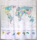 World Map Shower Curtain with Inspiring Quote. Detailed Major Cities. PVC Free, Non-toxic and Odorless Waterproof Fabric. 71'x71′ Large Home Décor Topographic Map. Picture