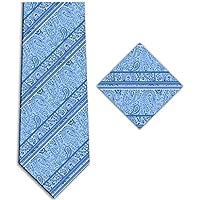 KissTies Men's Paisley Tie Set Floral Striped Necktie + Hanky + Gift Box
