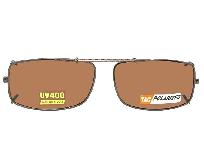 4b5242ea27c Slim Rectangle Polarized Clip On Sunglasses (Dark Bronze-Polarized Amber  Lens