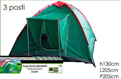 130x205x205cm GIRM/® GE800306 Tenda da Campeggio Igloo Discovery 3 posti con Veranda