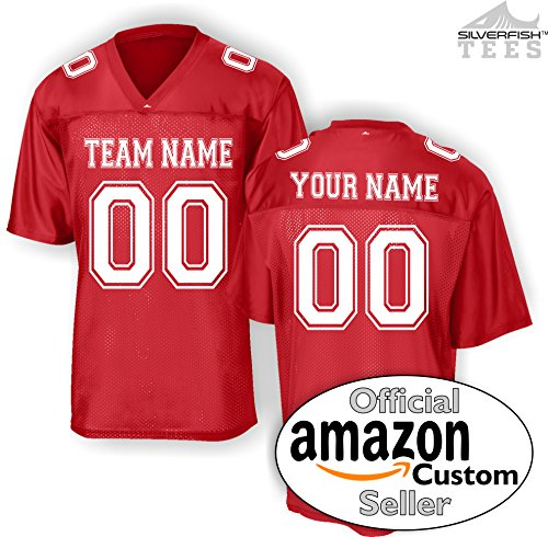 Custom Personalized Replica Football Jersey T-Shirt Add Your Team, Name, Number ()