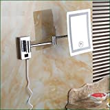 Ohcde Dheark Square Led Light Bath Mirrors Dual Makeup Mirror 1X3X Magnifier Copper Cosmetic Bathroom Double Faced