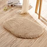 Size Difference Between King and Cal King Allrise Absorbent Non-slip Microfiber Shag Floor Bathroom Mat Rug, 12 x 20-Inches (Light tan)