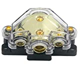 Elecer Power Distribution Block, Auto Car Audio Amplifier 1 in 3 Ways 0/2/4 Gauge in 4/8 Gauge Out Fuse Holder Circuit Protector Distribution Connecting Blocks (3 Way)