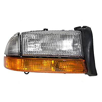 Passengers Headlight Headlamp with Park Signal Lamp Replacement for Dodge Pickup Truck SUV 55055110AI
