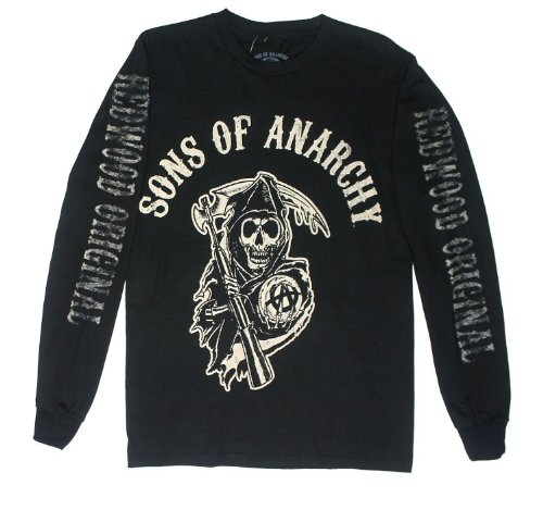 Anarchy Dark T-shirt - Sons Of Anarchy Fear The Reaper Long Sleeve Black T-Shirt (XXL)