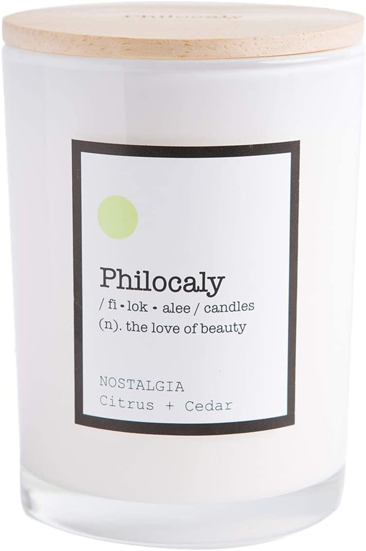 Philocaly Scented Jar Candle – Soy Wax, Cotton Wick & Recycled Glass – Slow, Clean Burn and Long-Lasting Scent – 9.5oz., Nostalgia, Citrus + Cedar