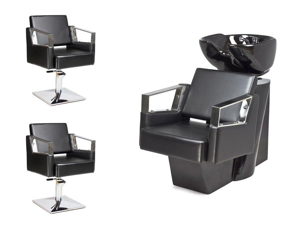 Kit Mobili per Parrucchieri VERDE 2x poltrona parrucchiere + 1x lavaggio parrucchiere 100 colori tappezzeria Capello