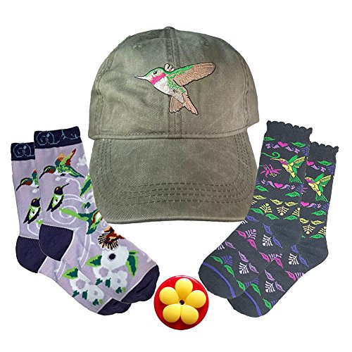 Price comparison product image Hummingbird Gift Set with Eco Wear Embroidered Cap,  Ace USA Socks,  and Aroma Trees Handheld Hummingbird Feeder (4 Item Bundle) (Ruby Throated Hummingbird)