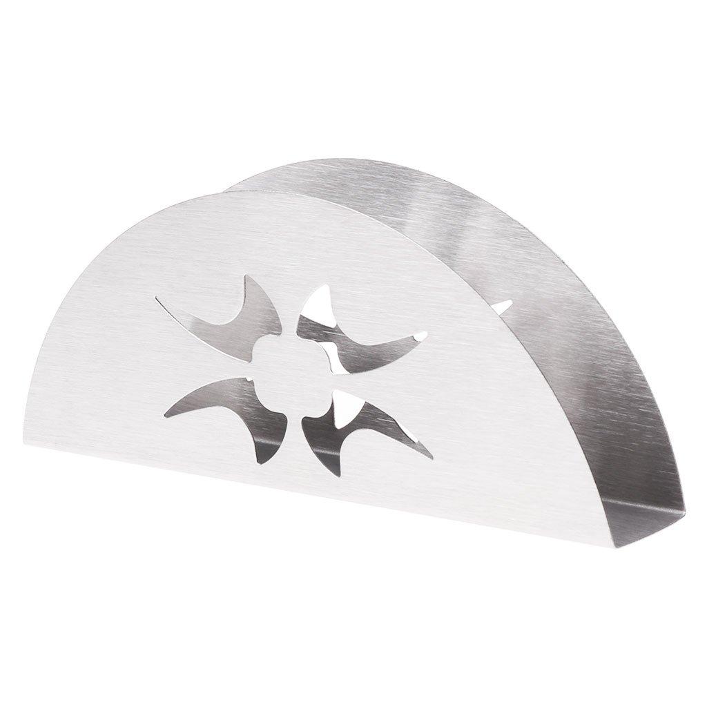 LANDUM - Servilletero de Acero Inoxidable con Forma de Abanico, Acero Inoxidable, 1: Silver, 1: 15×2.5×6cm/5.91×0.98×2.36in (Approx.)
