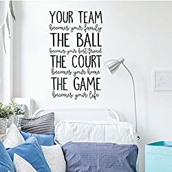 Volleyball or Basketball Wall Decal - Your Team - Vinyl Decor for Girl's Bedroom or Playroom - Sports Decorations