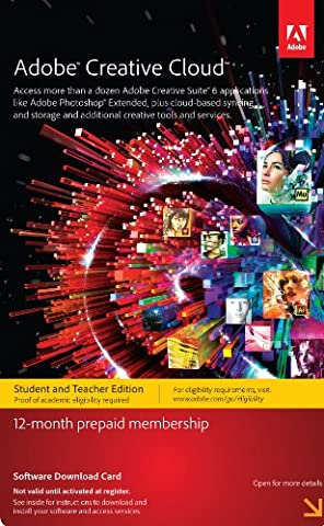 Adobe Creative Cloud Student and Teacher Edition Prepaid Membership 12 Month - Validation Required (Cc Photoshop)