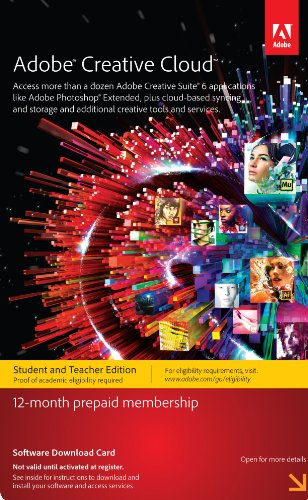 Adobe Creative Cloud Student and Teacher Edition Prepaid Membership 12 Month - Validation Required by Adobe