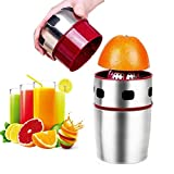 Citrus Juicer, Lukasa Manual Juicer Portable Stainless Steel Hand Orange Juicer Lid Rotation Squeezer for Oranges, Lemons, Tangerines, Grapefruits and Other Fruits