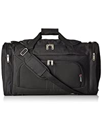 Cabin Sized Lightweight Small Luggage Carry on Holdall/Duffel Bag - Ideal for Weekend Trips and Overnight Stays. Large Sports/Gym Duffle Bag with Ripstop Material and Shoulder Strap. (Black 602)