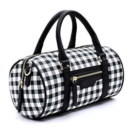 - Plaid Check Cylinder Shape Crossbody Bag for Women (BK/BK)