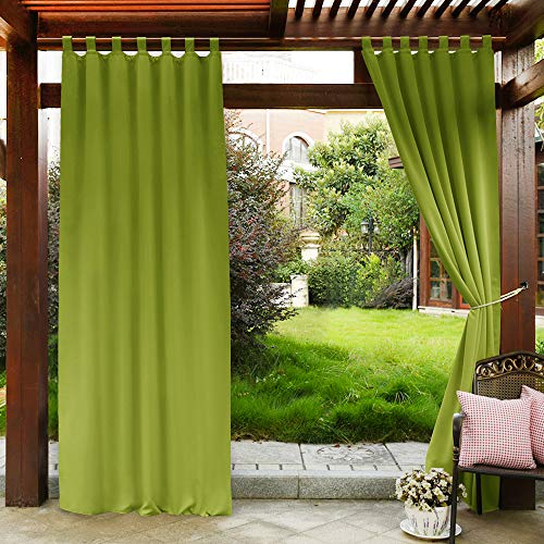 PONY DANCE Outdoor Curtain Panels - 84 inch Long Drapes Tab Top Stain Water Repellant Heavy-Duty Outdoor Indoor Curtains Drapery, 52 W by 84 L, Grass Green, One Piece (Buy Top Curtains Tab)
