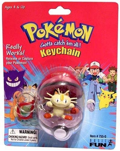 Pokemon Pokeball Keychain - Meowth