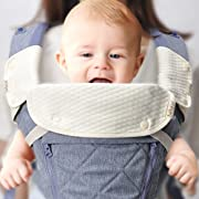 Bebamour Natural Baby Drool and Teething Pad for All Carry Positions Baby Carrier White Drool Bib for Boys & Girls