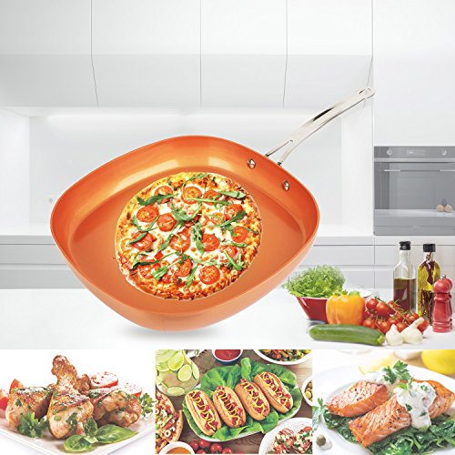 【Non Stick】iMounTEK [Ceramic/Aluminum/Stainless Steel] Anti Scratch Square Copper [12 INCH] Frying/Baking Pan. Ideal for Electric/Induction/Gas Stoves. PTFE/PFOA/PFOS Free! Oven Safe!