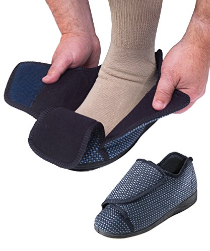 Mens Extra Extra Wide Slippers Swollen Feet Adjustable Import It All