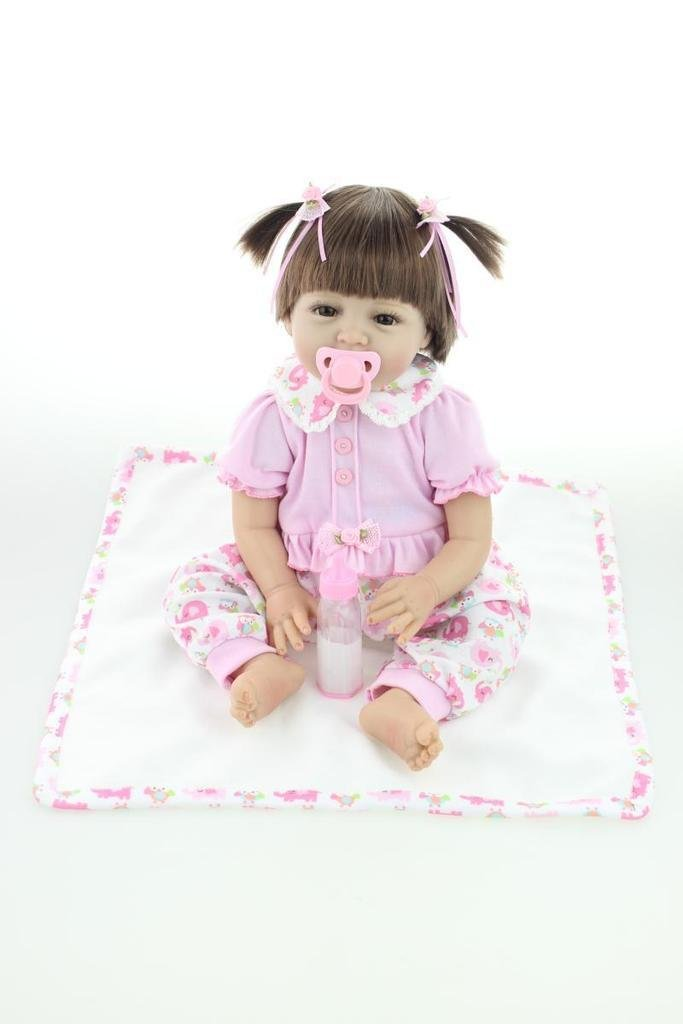 Barato NPKDOLL Renacer De La Muñeca De Silicona Suave 22 Pulgadas 55 Centímetro Magnética Boca Precioso Realista Lindo De La Muchacha Del Juguete Del Elefante Rosado Reborn Doll A1ES