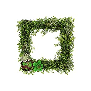 Admired By Nature Artificial Succulents Plants Wall Square Wreath, Green 21