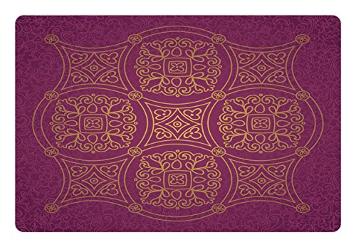 Ambesonne Purple Mandala Pet Mat for Food and Water, Persian Ornamental Lace Pattern Traditonal Authentic Arabic Folkloric Boho Design, Rectangle Non-Slip Rubber Mat for Dogs and Cats, Gold