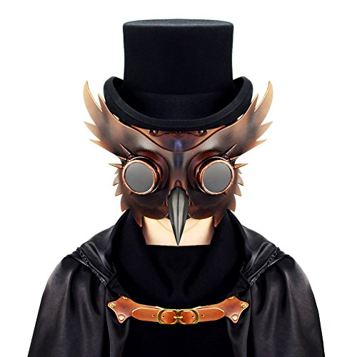 Plague Doctor Kit (Masquerade Party Halloween Plague Bird Doctor Nose Cosplay Fancy Gothic Steampunk Retro Rock Mask with Plexiglass Lens)