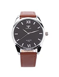 Cokoo Simplicity Style Black Dial Brown Band Men's Fashion Roman Numeral Wrist Watch Black