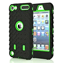 iPod Touch 5 6 Case, GreenElec Hybrid Dual Layer Shockproof High Impact Hard Plastic+Soft Silicon Rubber Armor Defender Case Cover for Apple iPod Touch 6th Gen 5th Gen (Green)