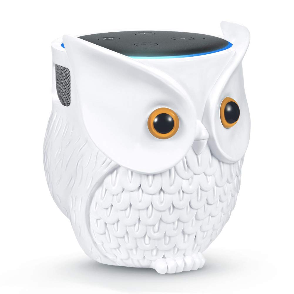 IDEALHOUSE Owl Echo Dot Holder Stand, Owl Statue Smart Speaker Holder Stand for Echo Dot 3rd and 2nd and 1st Generation, Cartoon Decor Owl Shape Home Decor - White 51Af8qje2BRL