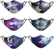 Kids Masks Washable Reusable- 6 Pack Kids Mask,Breathable Safety Kids Face Masks with Adjustable Earloops for