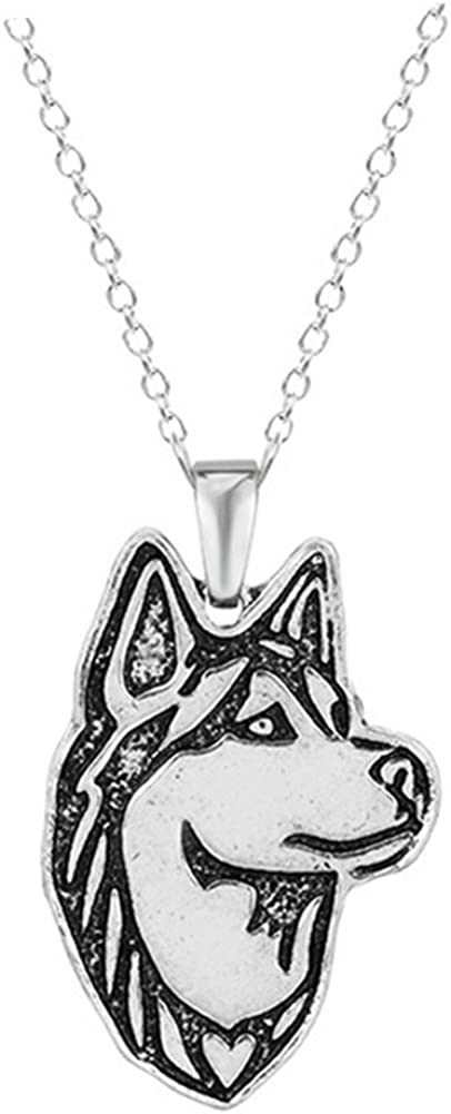 Silver Plated Fashion Jewellery Siberian Husky Dog Pendant Necklace