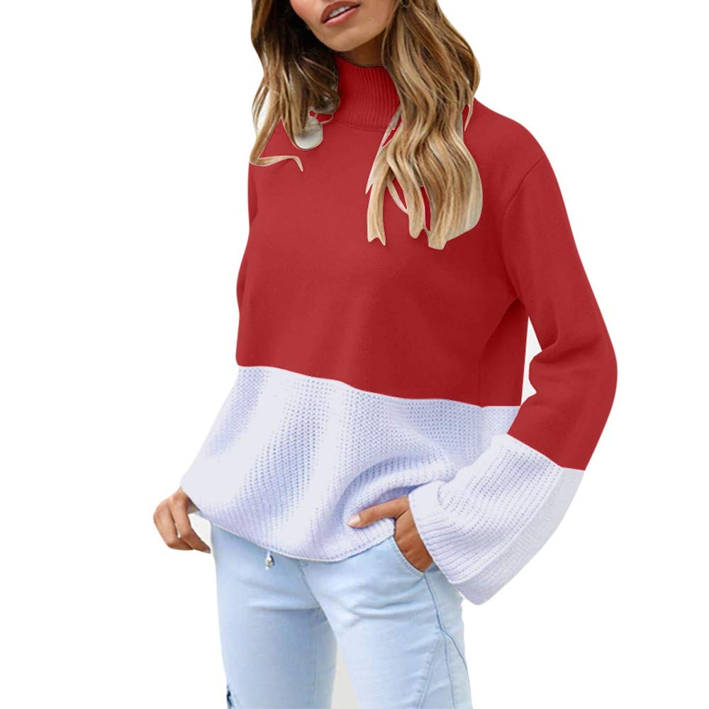 SMILEQ Top Women Knitted Patchwork Blouse Long Sleeve Cardigan T-shirt Tops  Loose Sweater  Amazon.co.uk  Sports   Outdoors de03bad32660d