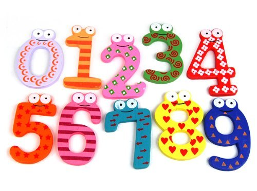 AKORD Funky Fun Colorful Numbers Wooden Fridge Magnets, Wood, Multi-Colour, 6 x 4 x 0.5 cm HO-49