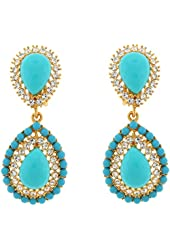 Kenneth Jay Lane Turquoise Blue Resin and Gold Teardrop Clip On Earrings