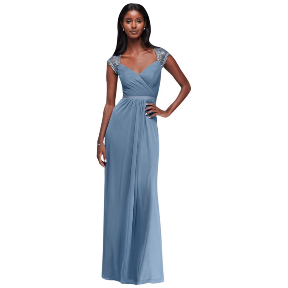 David\'s Bridal Mesh Long Bridesmaid Dress with Metallic Lace Cap ...