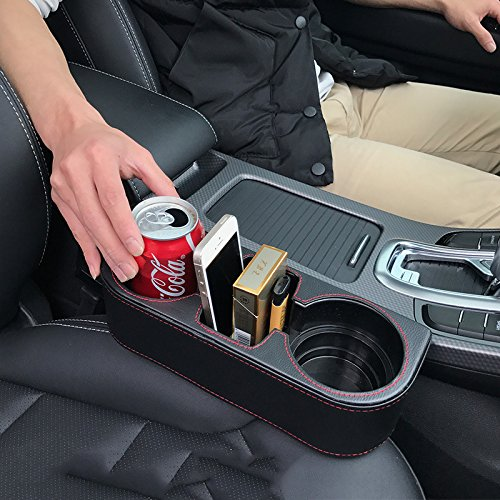 Iokone Coin Side Pocket Console Side Pocket Leather Cover Car Cup Holder Auto Front Seat Organizer Cell Mobile Phone Holder (Organizer Cup Cell Holder Cup)